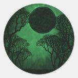 Pegatinas oscuros del eclipse del bosque, verdes