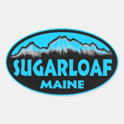 Pegatinas ovales azules de Sugarloaf Maine