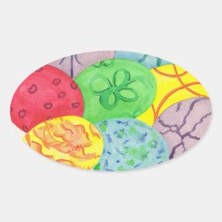 Pegatinas ovales coloridos de los huevos de Pascua