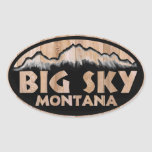 Pegatinas ovales de madera de Montana del cielo