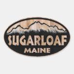 Pegatinas ovales de madera de Sugarloaf Maine