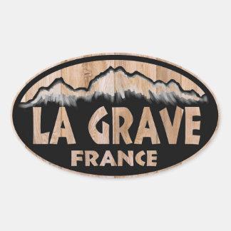 Pegatinas ovales de madera graves de Francia del