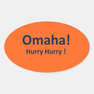 Pegatinas ovales de OMAHA para la prisa de las