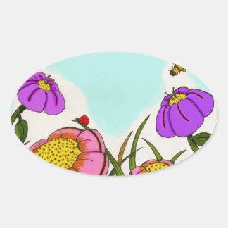 Pegatinas ovales del prado de la flor - sistema de