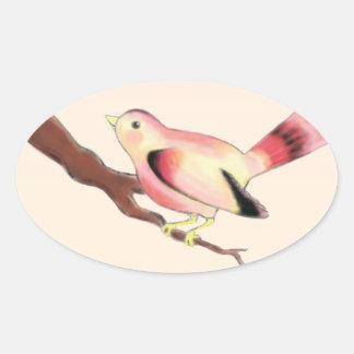 Pegatinas ovales grandes del pájaro bonito