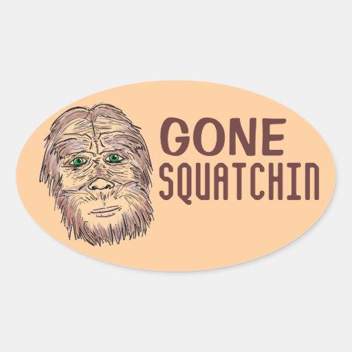 Pegatinas ovales idos del humor de Squatchin Bigfo