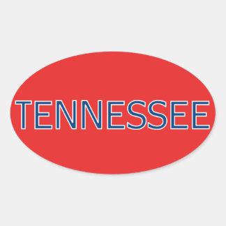 Pegatinas ovales rojos de Tennessee