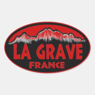Pegatinas ovales rojos graves de Francia del La