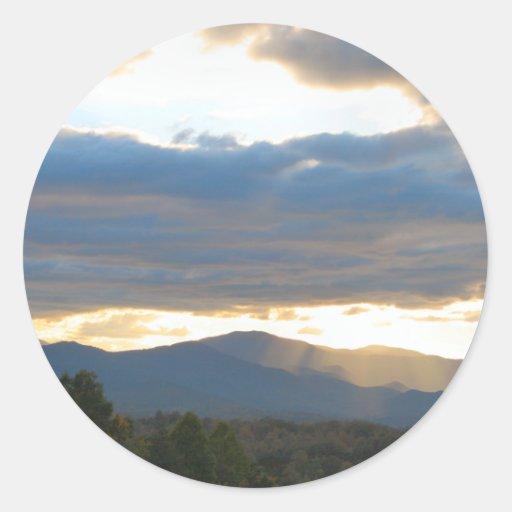 Pegatinas pacíficos del cielo de la tarde de la pegatina redonda