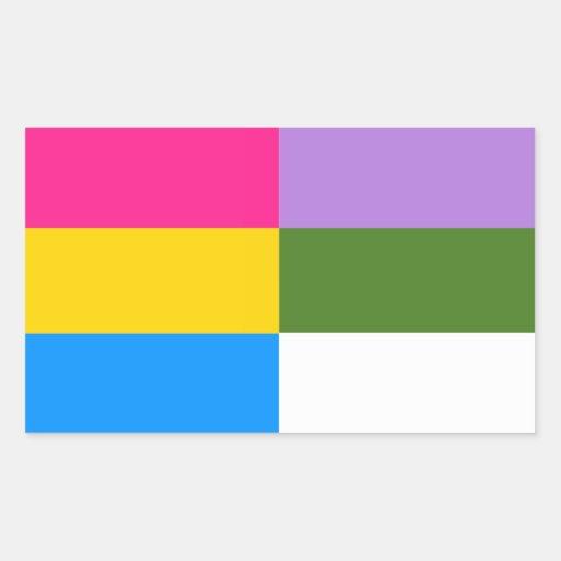 Pegatinas Pansexual/del genderqueer de la bandera Pegatina Rectangular