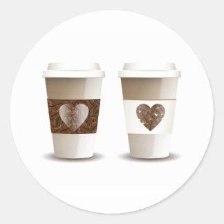 Pegatinas para llevar de las tazas del café del pegatina redonda