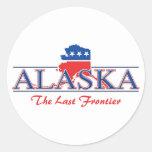 Pegatinas patrióticos blancos de Alaska y azules Pegatinas Redondas