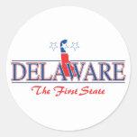 Pegatinas patrióticos de Delaware Pegatina Redonda
