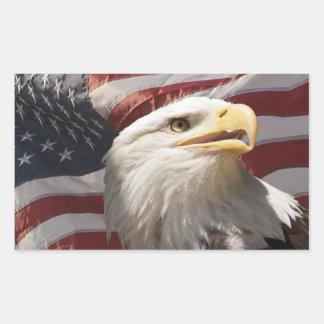 Pegatinas patrióticos de Eagle Rectangular Pegatinas