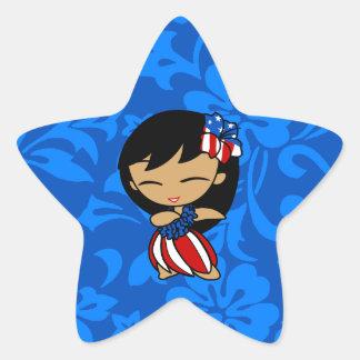 Pegatinas patrióticos de la estrella del chica de pegatina en forma de estrella