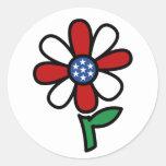 Pegatinas patrióticos de la flor etiqueta redonda