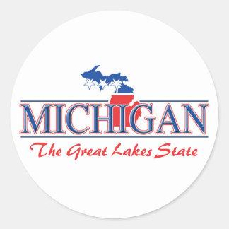 Pegatinas patrióticos de Michigan Pegatina Redonda