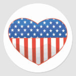 Pegatinas patrióticos del corazón etiqueta redonda