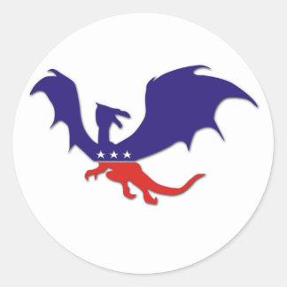 Pegatinas patrióticos del dragón etiqueta redonda