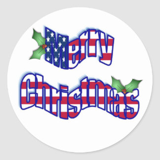Pegatinas patrióticos del navidad pegatina redonda