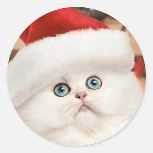 Pegatinas persas del navidad del gatito pegatina redonda