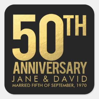 Pegatinas personalizados 50.o aniversario del oro calcomanías cuadradass