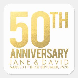 Pegatinas personalizados 50.o aniversario del oro calcomania cuadradas