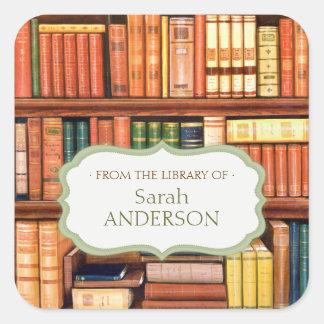 Pegatinas personalizados biblioteca del Bookplate Calcomanías Cuadradass