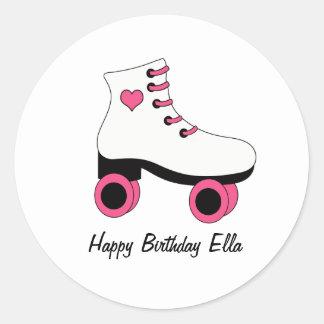 Pegatinas personalizados cumpleaños del patinaje pegatina redonda