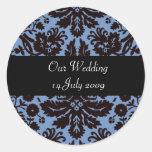 Pegatinas personalizados damasco barroco azul