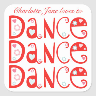 Pegatinas personalizados danza de la danza de la pegatina cuadrada