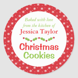 Pegatinas personalizados de la galleta del navidad pegatina redonda
