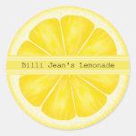 Pegatinas personalizados de la rebanada del limón pegatinas redondas