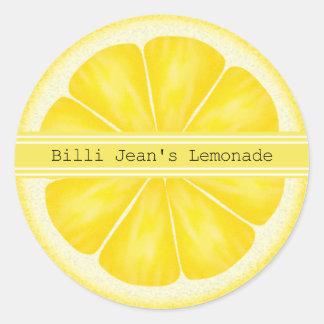 Pegatinas personalizados de la rebanada del limón pegatina redonda