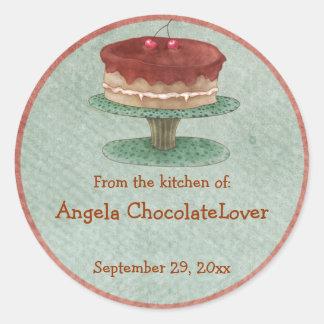 Pegatinas personalizados de la receta de la torta etiquetas redondas