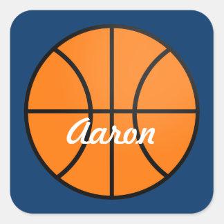 Pegatinas personalizados del baloncesto pegatina cuadrada