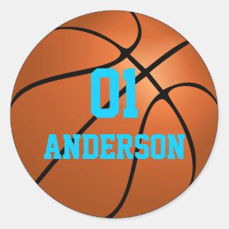 Pegatinas personalizados del baloncesto pegatina redonda