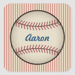 Pegatinas personalizados del béisbol del vintage calcomanias cuadradas