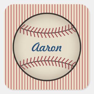 Pegatinas personalizados del béisbol del vintage pegatina cuadrada