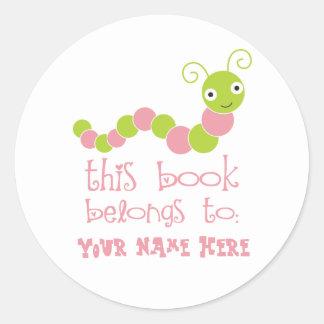 Pegatinas personalizados del Bookplate del ratón Etiqueta Redonda
