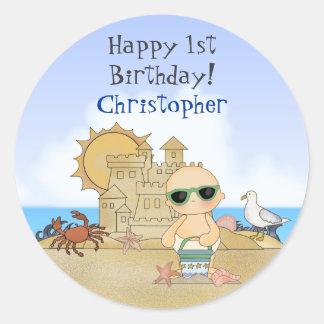 Pegatinas personalizados del cumpleaños del bebé