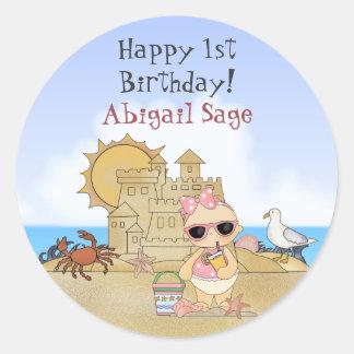 Pegatinas personalizados del cumpleaños del bebé pegatina redonda