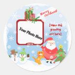 Pegatinas personalizados del navidad de la foto etiqueta redonda