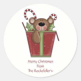 Pegatinas personalizados del navidad del oso de pegatina redonda