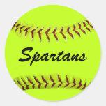 Pegatinas personalizados del softball del equipo