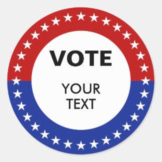 Pegatinas personalizados del voto pegatina redonda