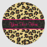 Pegatinas personalizados estampado leopardo rosado etiquetas redondas