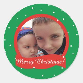 Pegatinas personalizados familia de la foto de las pegatina redonda