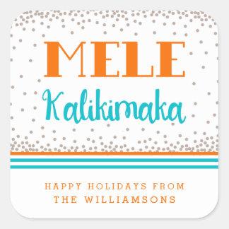 Pegatinas personalizados Kalikimaka del día de Colcomania Cuadrada