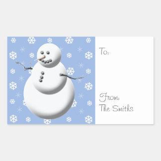 Pegatinas personalizados muñeco de nieve lindo del rectangular altavoz